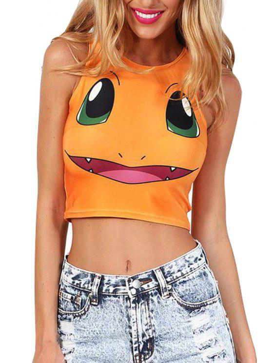 shop Jewel Neck Cartoon Print Sleeveless Tank Top - ORANGE ONE SIZE(FIT SIZE XS TO M)