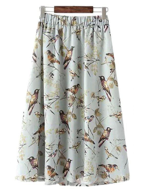 womens Full Bird Print A Line Skirt - WHITE ONE SIZE(FIT SIZE XS TO M)