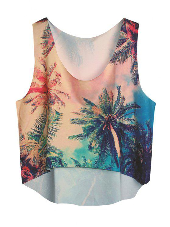 latest Coconut Tree Print Sleeveless Tank Top - COLORMIX ONE SIZE(FIT SIZE XS TO M)