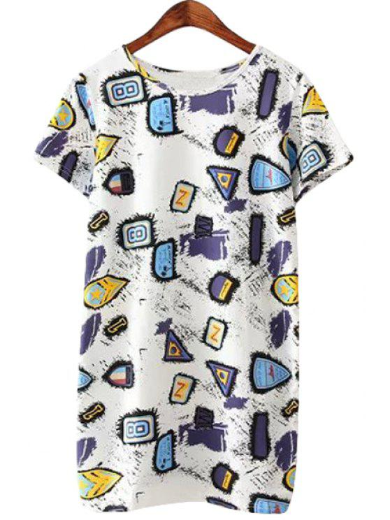 shop Geometric Print Short Sleeves T-Shirt - WHITE ONE SIZE(FIT SIZE XS TO M)