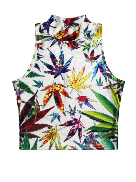 fancy Stand-Up Collar Colorful Leaves Print Tank Top - COLORMIX ONE SIZE(FIT SIZE XS TO M)