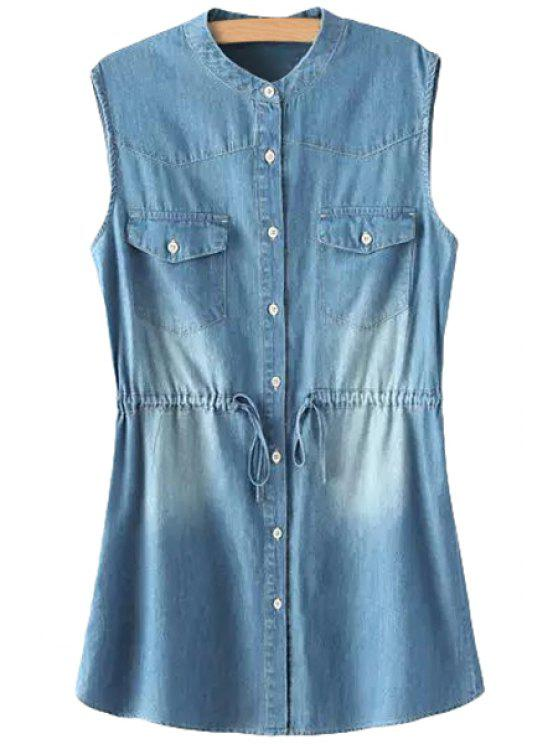 chic Blue Denim Sleeveless Dress - BLUE S