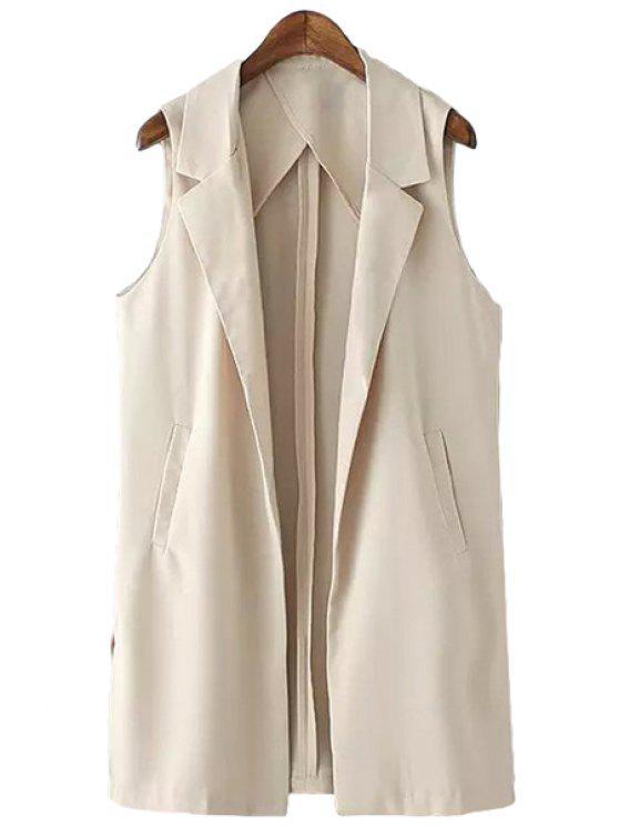 online Lapel Linen Solid Color Waistcoat - APRICOT S