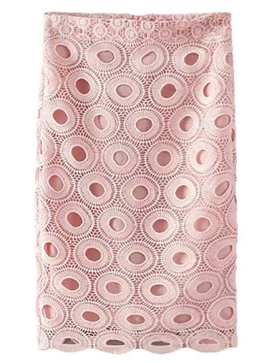 women Pink Crochet Pencil Skirt - PINK S