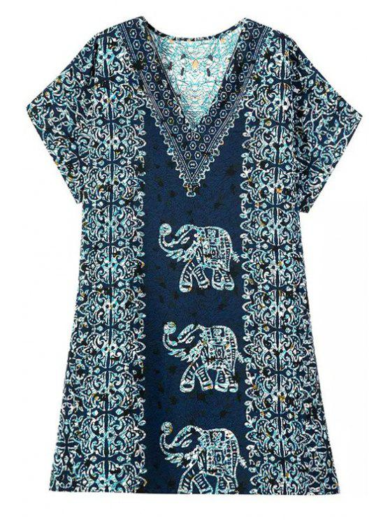 women's Short Sleeve Elephant Print Dress - COLORMIX L
