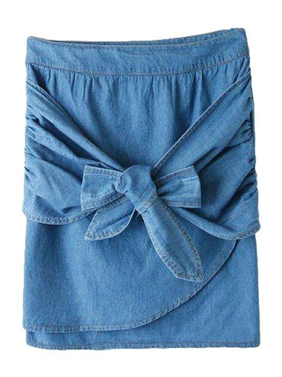 lady Blue Denim Self-Tie Skirt - BLUE S