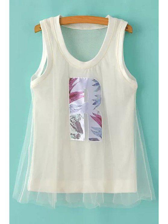 affordable Scoop Neck Letter Pattern Voile Tank Top - WHITE S