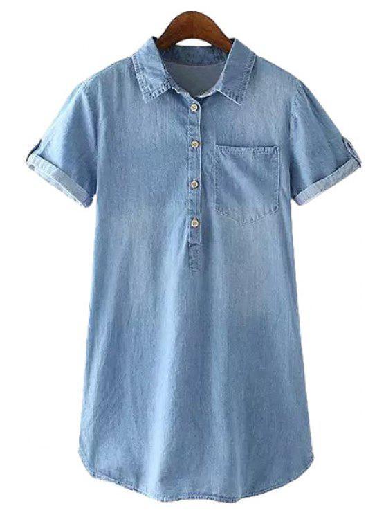 affordable Blue Denim Short Sleeve Dress - BLUE S