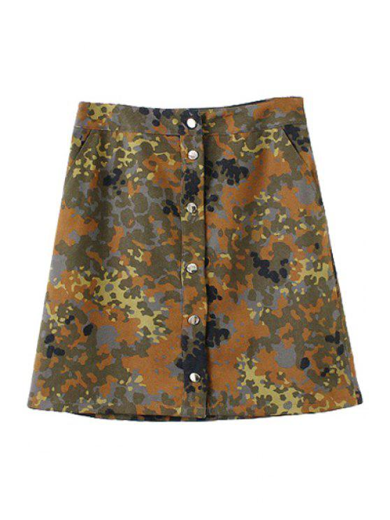 hot Camouflage Print A Line Skirt - BRONZE-COLORED S
