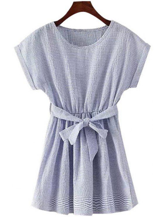 chic Stripe Ruffle Belt Short Sleeve Dress - LIGHT BLUE M