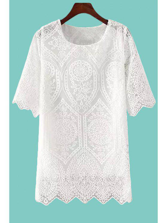affordable Solid Color Embroidery Lace Half Sleeve Dress - WHITE ONE SIZE(FIT SIZE XS TO M)
