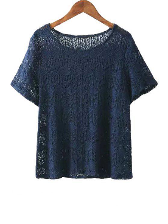 shops Short Sleeve Lace Solid Color T-Shirt - CADETBLUE S