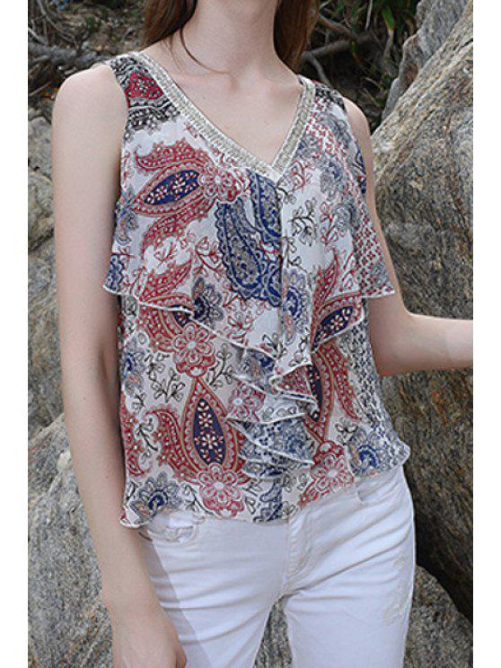 womens V-Neck Floral Print Chiffon Layered Tank Top - COLORMIX S