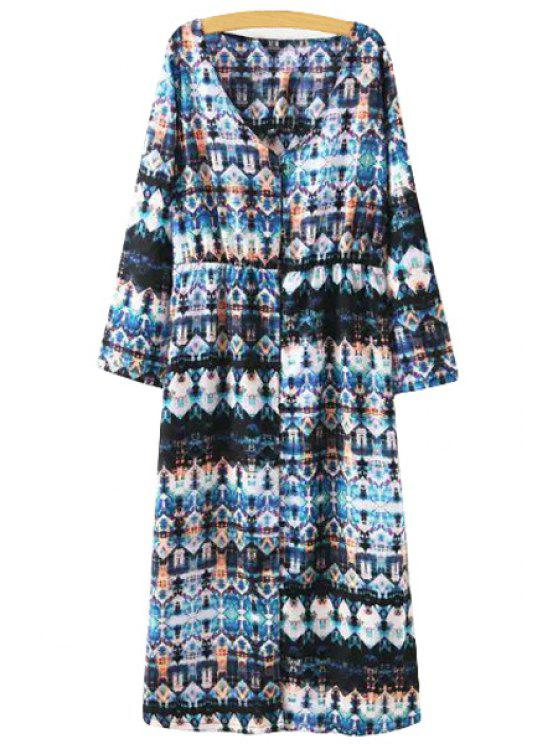 ladies Print V Neck Long Sleeve Dress - AS THE PICTURE S