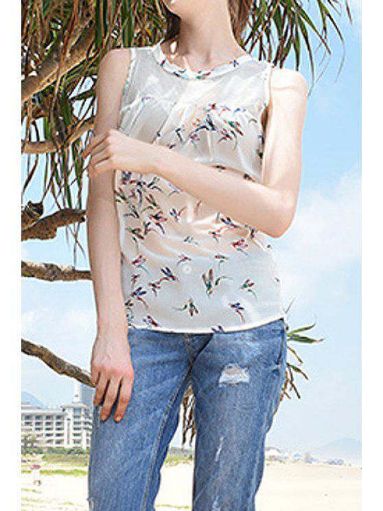 ladies Bird Print See-Through Chiffon Tank Top - OFF-WHITE S