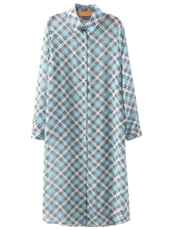 chic Plaid Print Long Sleeve Shirt - BLUE S
