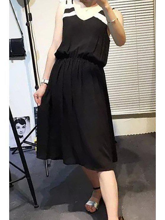 unique V-Neck Stripe Color Block Ruffle Dress - BLACK M