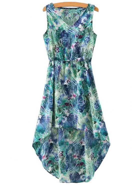 buy Leaf Print High Low Sleeveless Dress - COLORMIX S