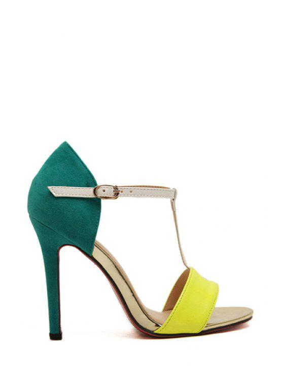women's Sexy High Heel Color Block Sandals - BLUE AND YELLOW 35