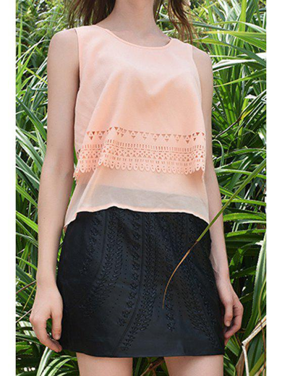 outfit Solid Color Layered Lace Spliced Tank Top - APRICOT S
