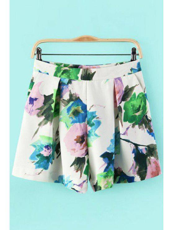 unique Flower Print Pleated Shorts - WHITE S