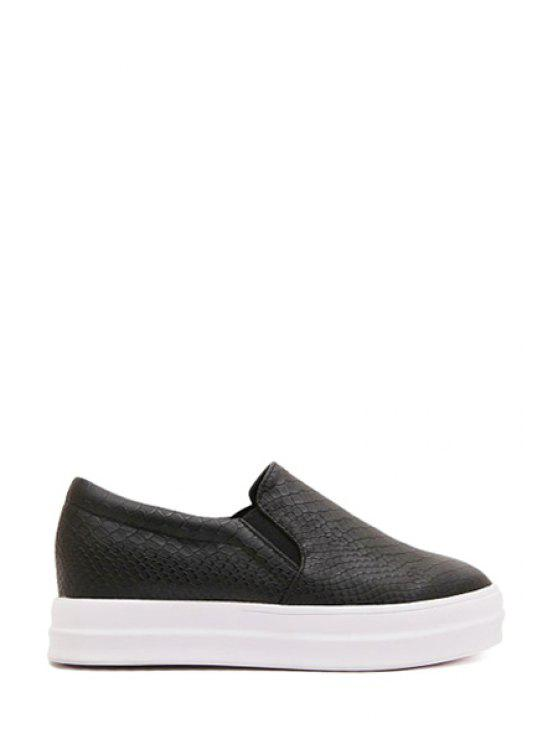 ladies Snake Print Round Toe Flat Shoes - BLACK 35