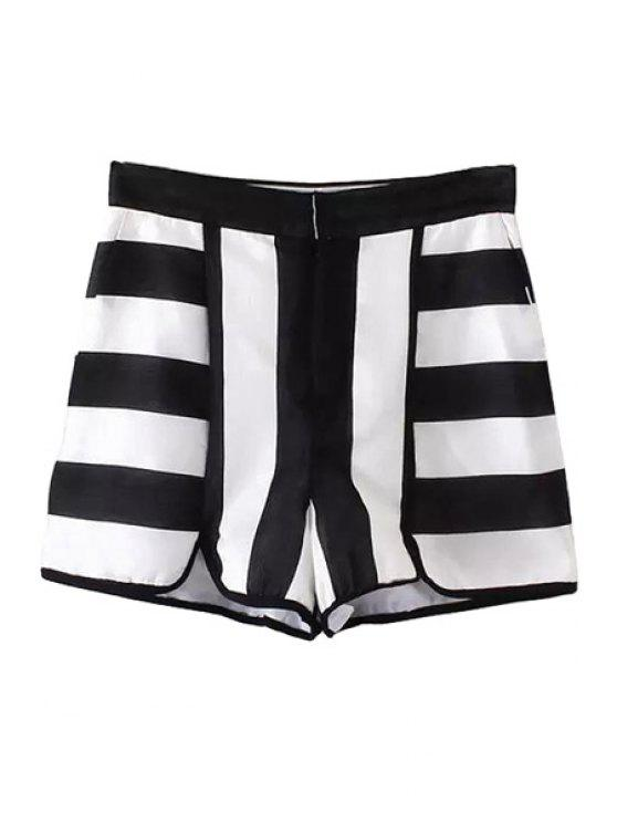 chic Black White Stripe Jag Zipper Fly Shorts - WHITE AND BLACK XS