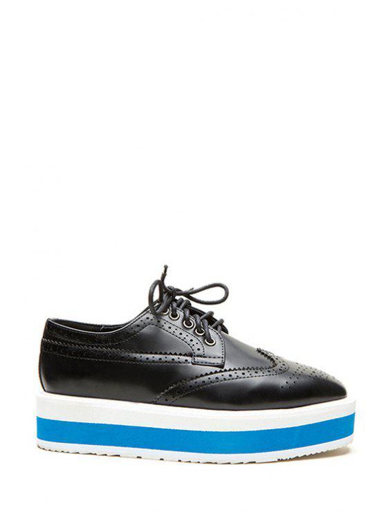 new Square Toe Engraving Lace-Up Platform Shoes - BLACK 35
