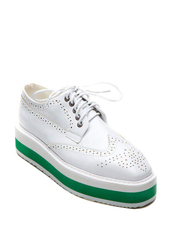 fashion Square Toe Engraving Lace-Up Platform Shoes - WHITE 38