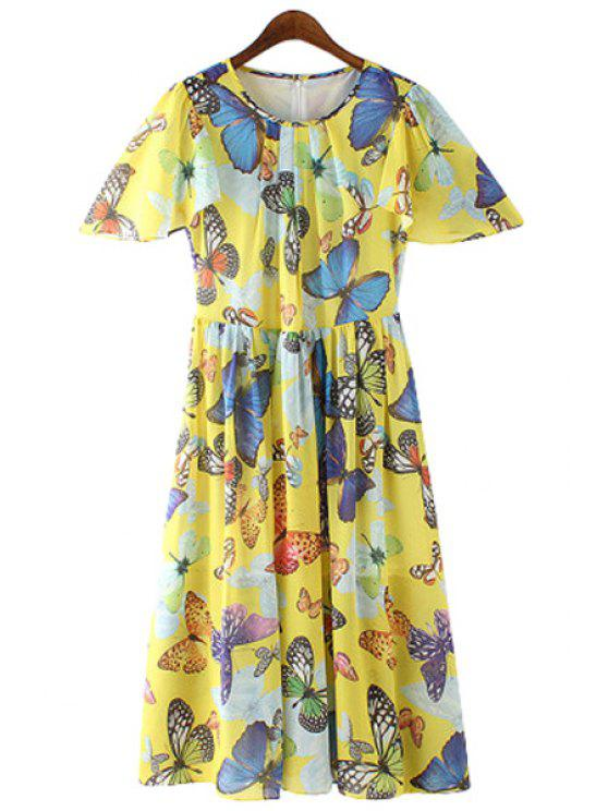 unique Jewel Neck Butterfly Print Ruffle Dress - AS THE PICTURE L