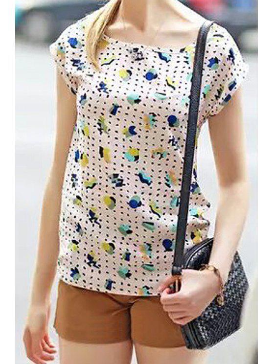 shops Scoop Neck Print Color Block T-Shirt - WHITE S