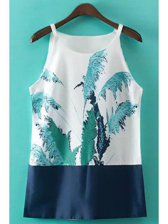 hot Reed Print Spaghetti Straps Tank Top - BLUE AND WHITE S