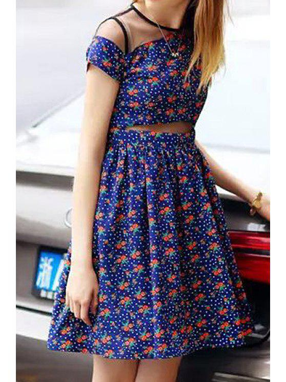 affordable Voile Splicing Tiny Floral Print Short Sleeve Dress - BLUE S