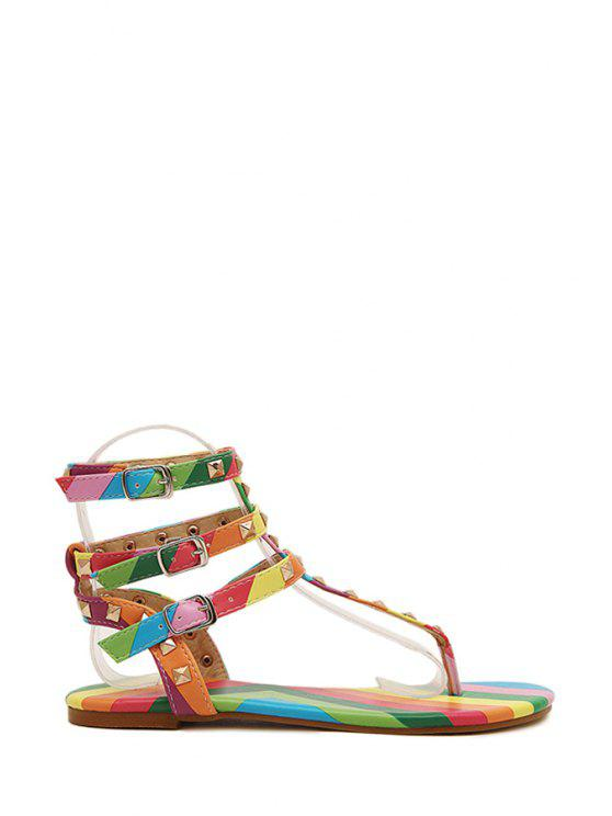 c5f373fe7 2018 Rainbow Rivets Flip-Flop Color Block Sandals In COLORFUL 36