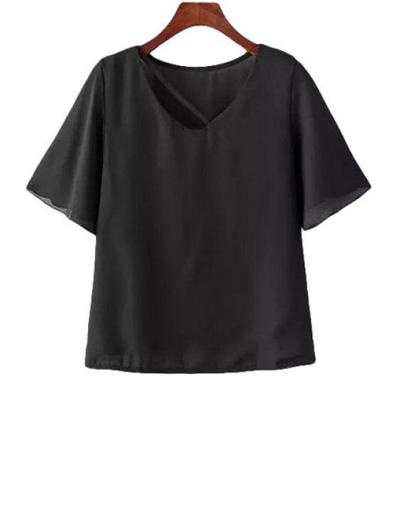 women Solid Color Butterfly Sleeve T-Shirt - BLACK M