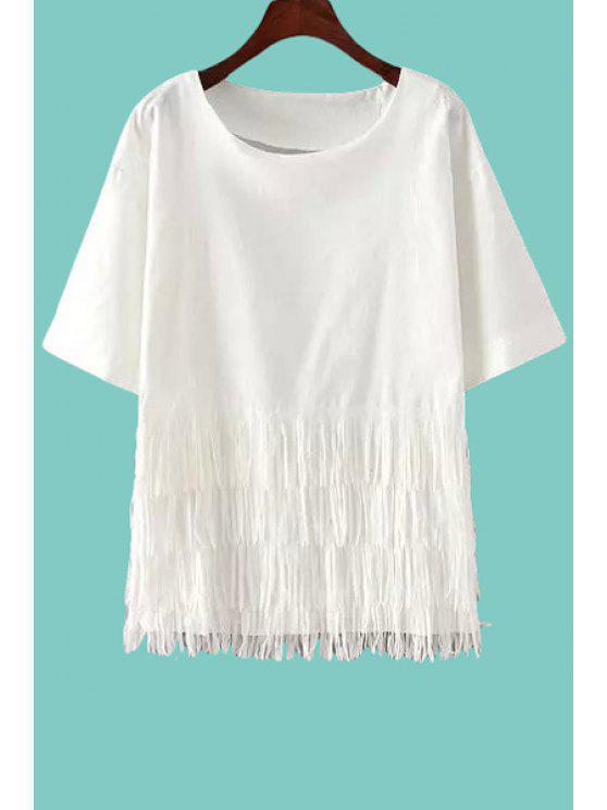 best White Tassels Short Sleeve T-Shirt - WHITE ONE SIZE(FIT SIZE XS TO M)