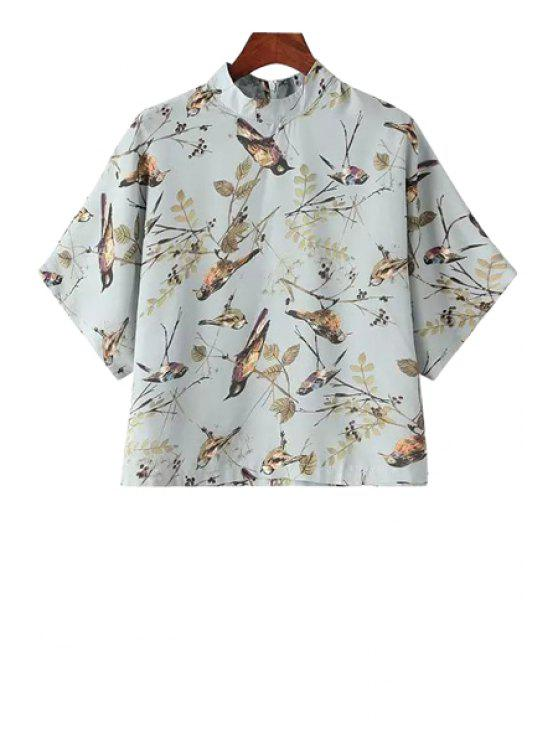 unique Stand-Up Collar Bird Leaves Print T-Shirt - GRAY ONE SIZE(FIT SIZE XS TO M)