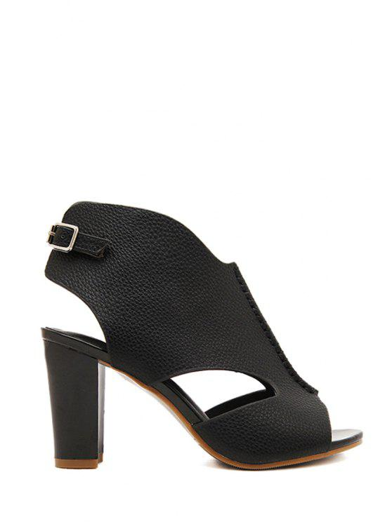 outfits Hollow Out Solid Color Peep Toed Shoes - BLACK 34