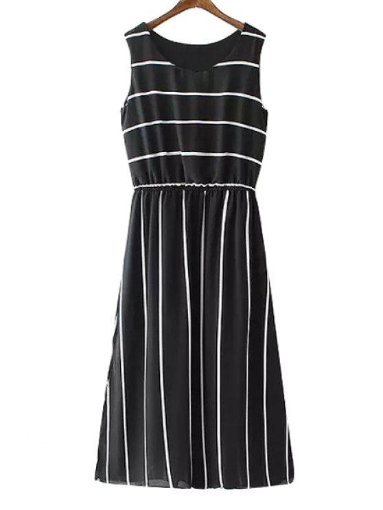 affordable Jewel Neck Stripe Ruffle Sleeveless Dress - BLACK S