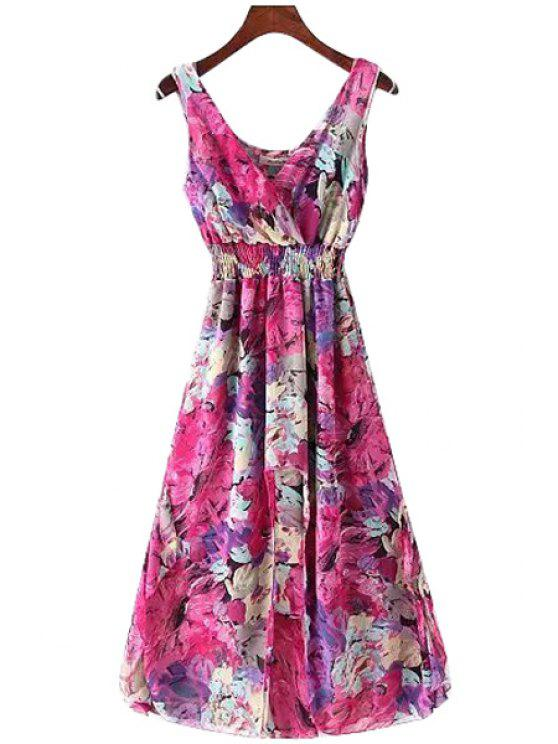 new Sleeveless Floral A Line Maxi Dress - RED ONE SIZE(FIT SIZE XS TO M)