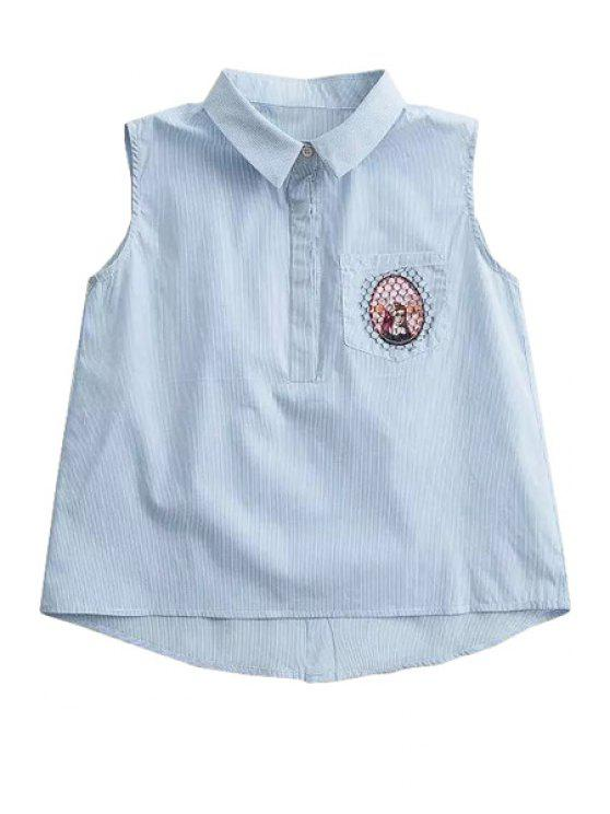 ladies Stripe Embroidery Sleeveless Shirt - AS THE PICTURE XS