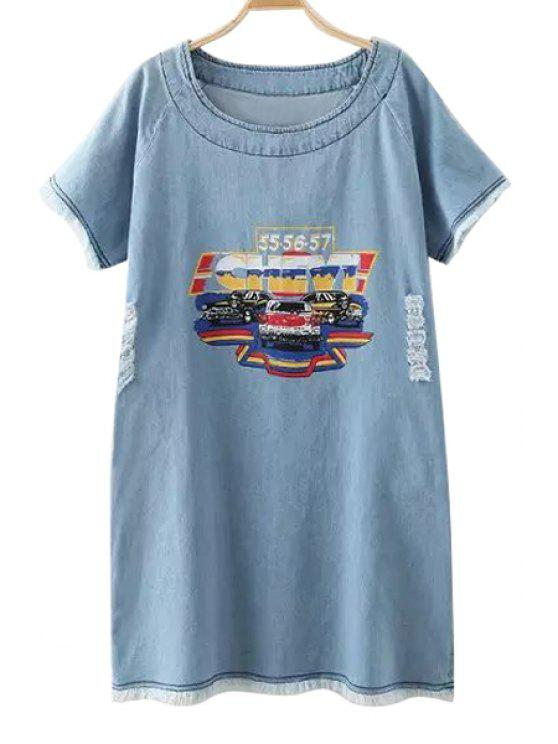 women Bleach Wash Car Print Denim Short Sleeve Dress - BLUE ONE SIZE(FIT SIZE XS TO M)