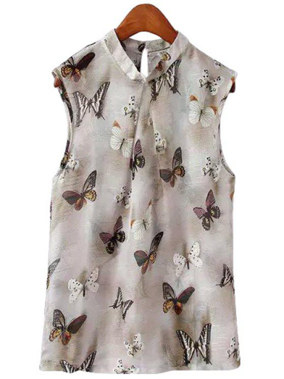 online Full Butterfly Print Sleeveless Shirt - GRAY S