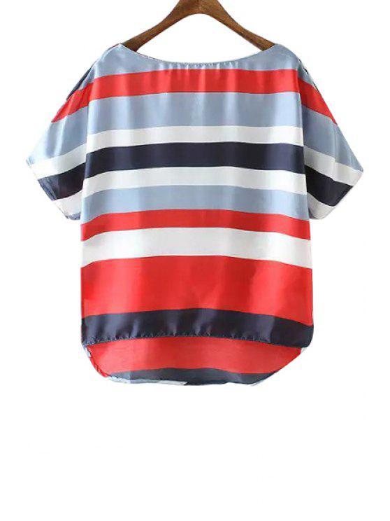sale Jewel Neck Color Block Stripe Short Sleeve T-Shirt - COLORMIX S
