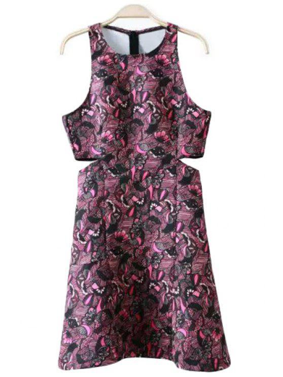outfit Print Scoop Neck A Line Sundress - VIOLET ROSE S