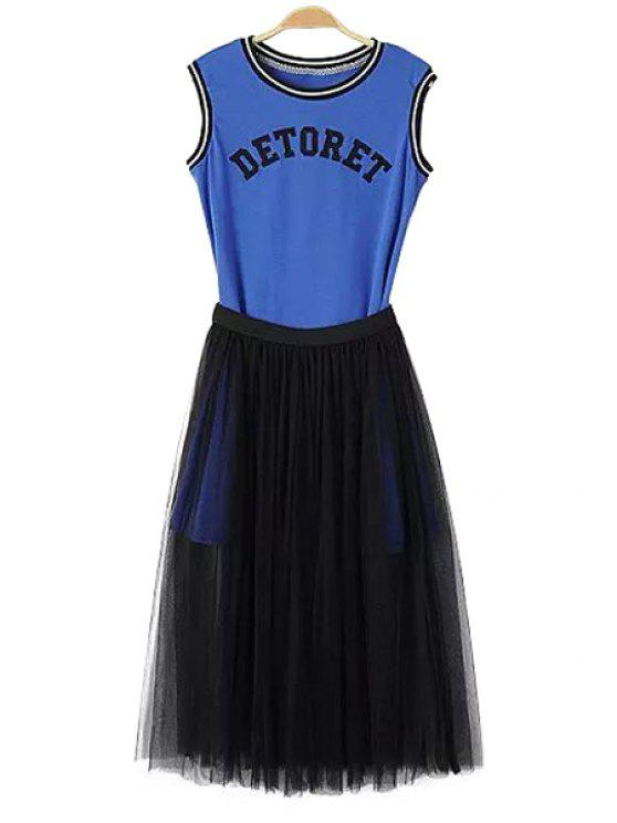 buy Letter Pattern Sleeveless Dress + Solid Color Voile Skirt - BLUE AND BLACK S