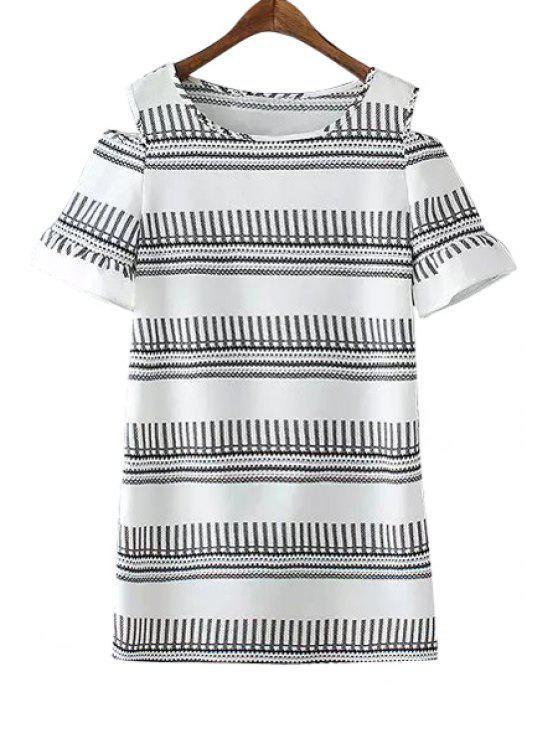 hot Stripe Color Block Openwork Short Sleeve Dress - GRAY M