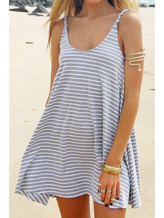 women's Striped Grey Spaghetti Strap Dress - GRAY S