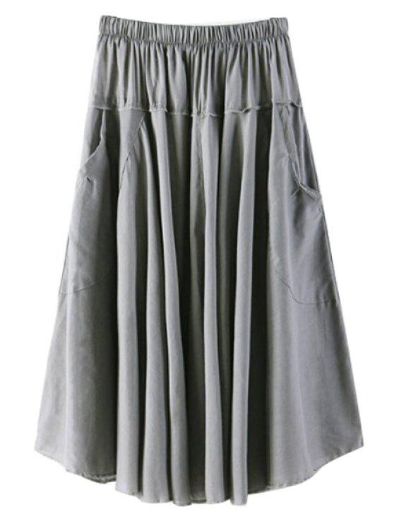 best Solid Color Pocket Elastic Waist Long Skirt - GRAY ONE SIZE(FIT SIZE XS TO M)