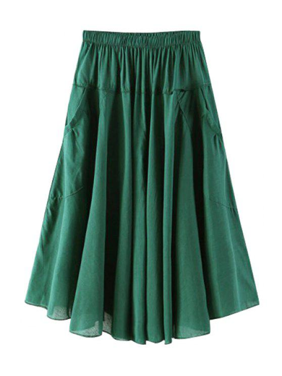 outfit Solid Color Pocket Elastic Waist Long Skirt - BLACKISH GREEN ONE SIZE(FIT SIZE XS TO M)